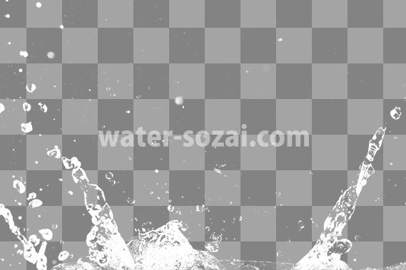 水が跳ね返る、切り抜き透過画像