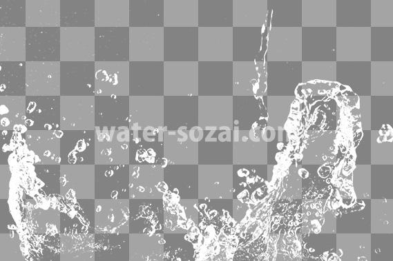 水がぶつかって弾ける、切り抜き透過画像