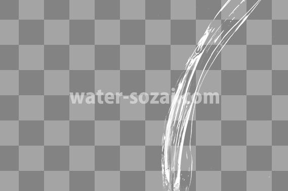 水が流れ落ちる、切り抜き透過画像