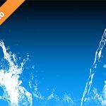 青い背景の水が散布する写真・フォト
