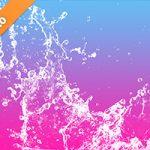 水色からピンクの背景の水が散布する写真・フォト