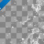 水が四方に散布する、切り抜き透過画像