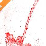 赤く着色された水が散布する写真・フォト