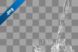 水が注がれ弾ける、切り抜き透過画像