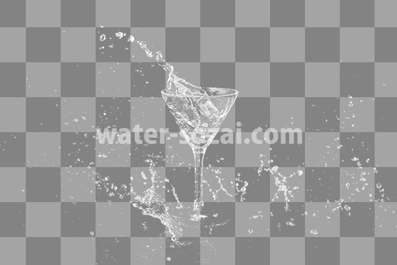 カクテルグラスと水が飛び散る、切り抜き透過画像