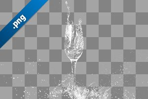 シャンパングラスと水しぶきの切り抜き透過画像