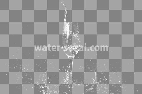 シャンパングラスと水がはじける切り抜き透過画像