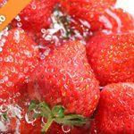 苺に水が押し寄せる写真・フォト フリー素材