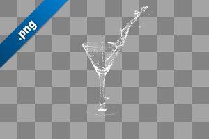 カクテルグラスの水がこぼれる、切り抜き透過画像