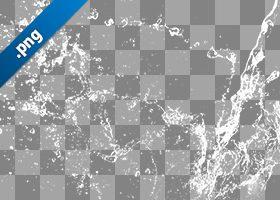 水が四方に飛び散る、切り抜き透過画像