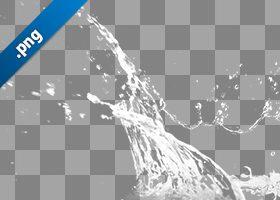 水飛沫が上がる切り抜き透過画像