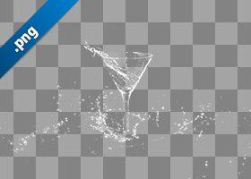 カクテルグラスと水飛沫の切り抜き透過画像