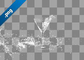 カクテルグラスと水が散布する、切り抜き透過画像