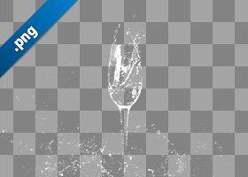 シャンパングラスと水が散布する切り抜き透過画像